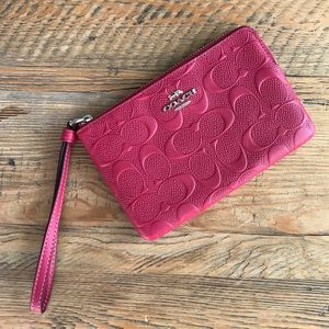 Coach Zip Wristlet in Cranberry Signature Leather
